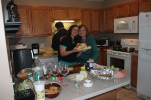 Mom and I in my too small kitchen with the famous rolls